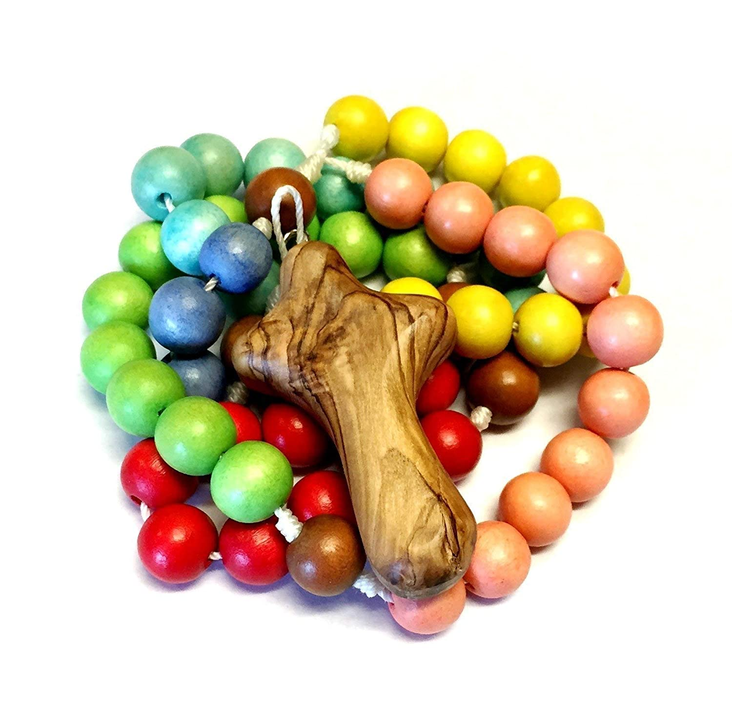 Child's Wooden Rosary in Light Classic Colors with Bethlehem Olive Wood My Caring Cross - Sturdy Kid's Rosary