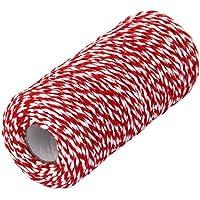 PIXNOR 100m katoen Bakers Twine String kabel voor glazen fles geschenkdoos Decor Craft (rood + wit)