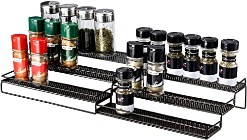 Veesun Expandable Spice Rack Organizer for Cabinet Kitchen Countertop Pantry,Standing Spice Organizer,Adjustable Wide 12.6 to 25 ,Bronze.