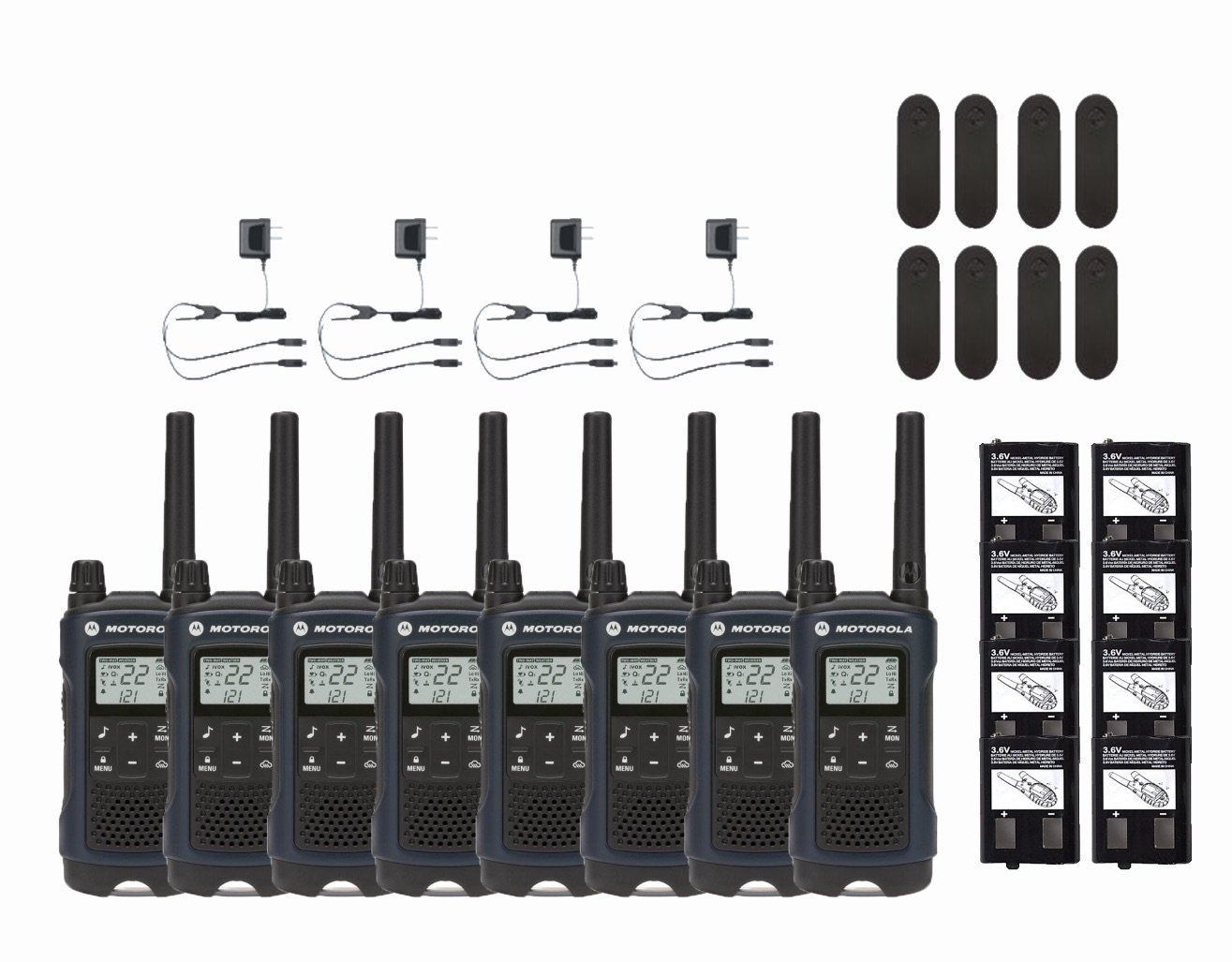 Motorola Talkabout T460 Two-Way Radio 22 Channel NOAA Walkie Talkies 8-PACK