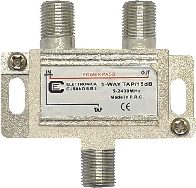 Elettronica Cusano 9133-15 - Distribuidor satélite a 1 salida derivada de 15 dB, gris