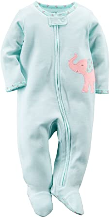 Carters Baby Girls Elephant Zip Up Sleep & Play 6 Month Light blue