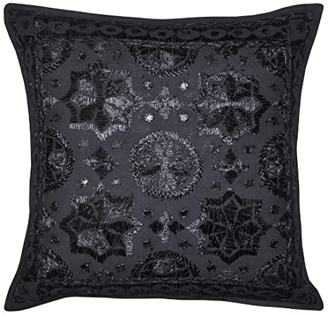 Amazon.com: nandnandini- Negro decorativo Throw almohada ...