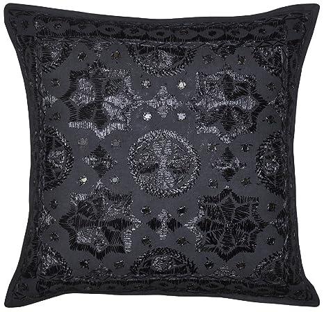 Amazon.com: nandnandini- Negro decorativo Throw almohada ...
