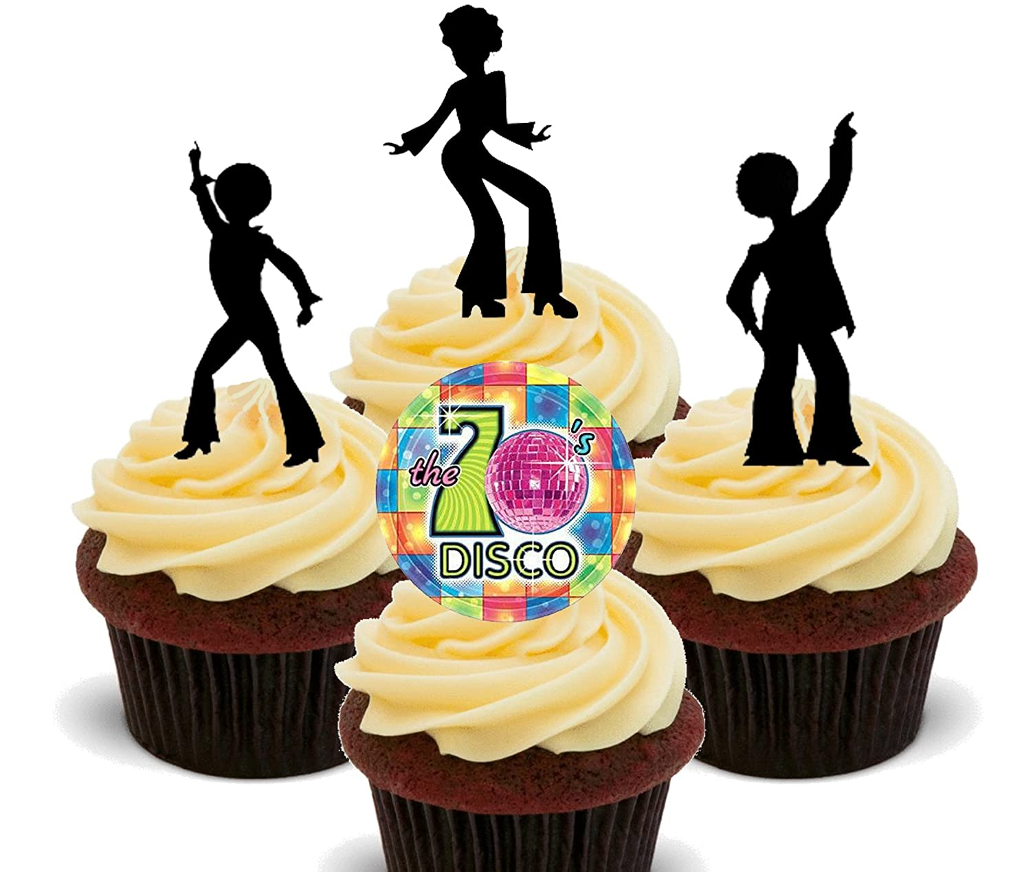 70s Disco Party Silhouettes, Edible Cupcake Toppers - Stand-up Wafer ...