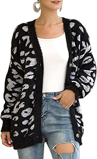 Womens Open Front Cardigan Button Knitted Sweater Pullover Jumper Leopard Print Jacket Sweatshirt Ladies Long Sleeve Tops Chunky Winter Coat Oversized