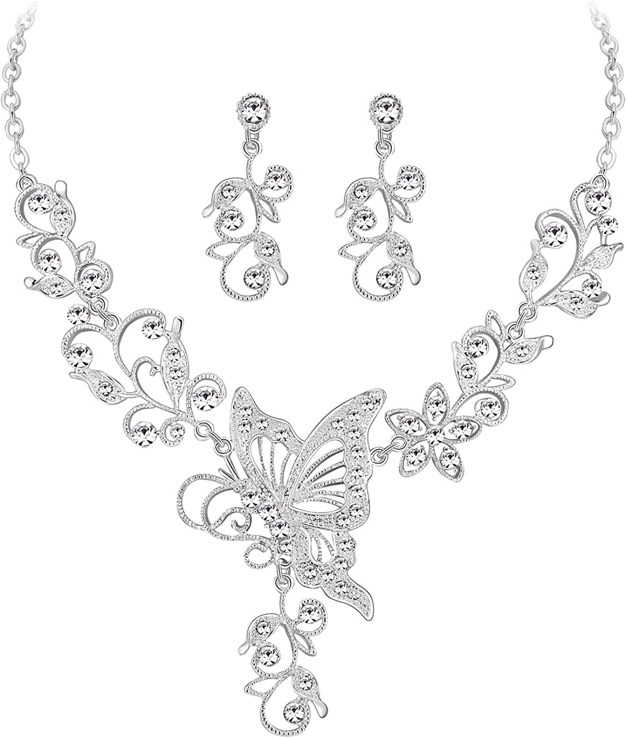 MOOCHI Women Austrian Crystal Necklace Jewelry Set for Wedding Bride Prom Costume