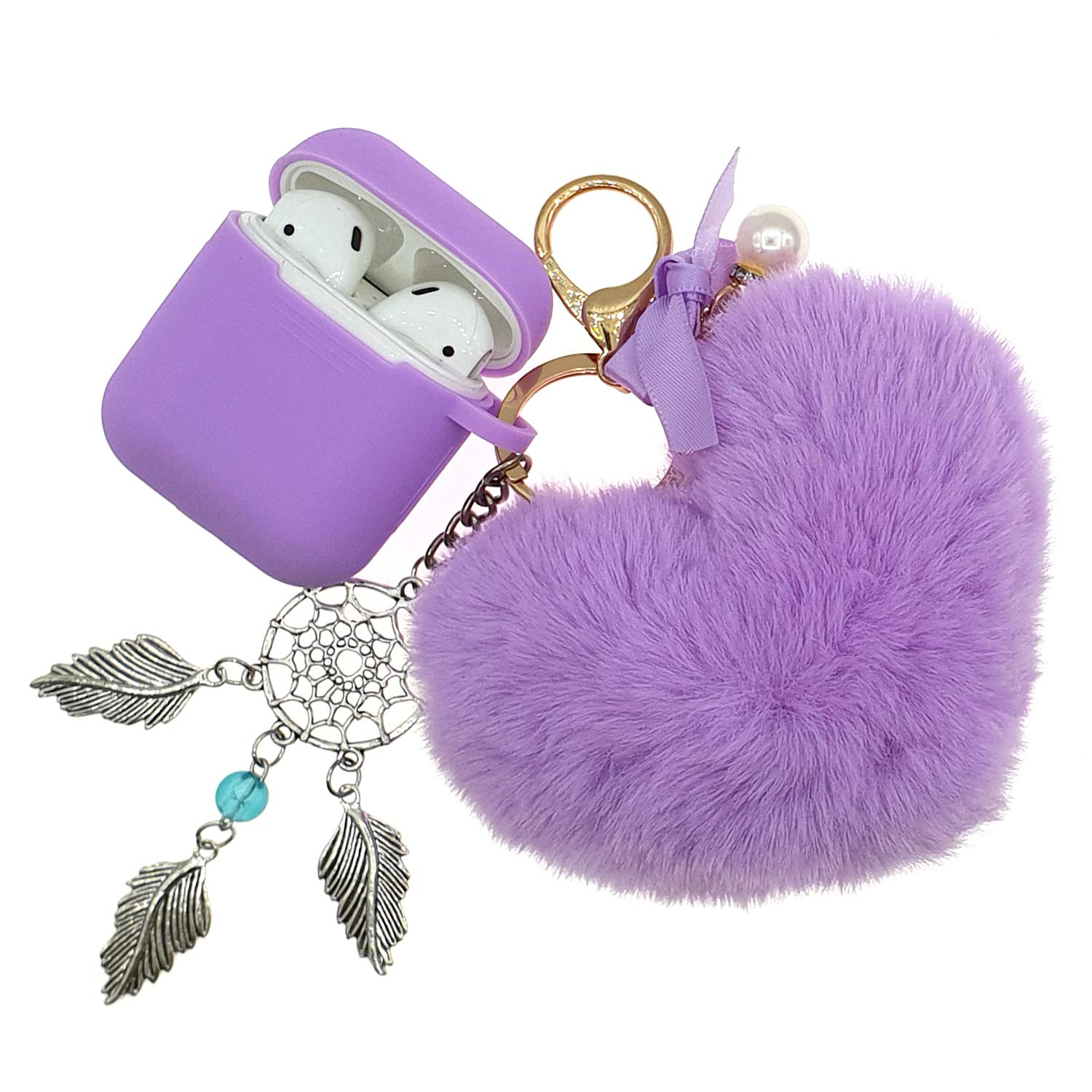 AirPods 2/1 Silicone Skin and Cover Case Adorable Anti-Loss Replacement for Apple Headphone Charging Case 2/1 Drop Proof Airpod Case with Elegant Fluffy Heart Shaped Fur Ball Dream Catchers Keychains