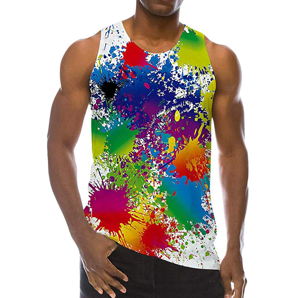 Men 3D Print Casual Tshirt,Male Sleeveless Tank Top Summer Fashion Colourful Leisure Sports Vest Blouse