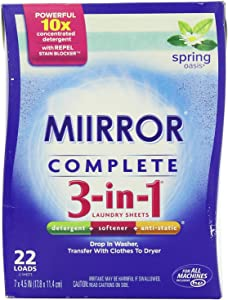 MIIRROR Complete 3-in-1 Laundry Sheets, Spring Oasis, 22 Count