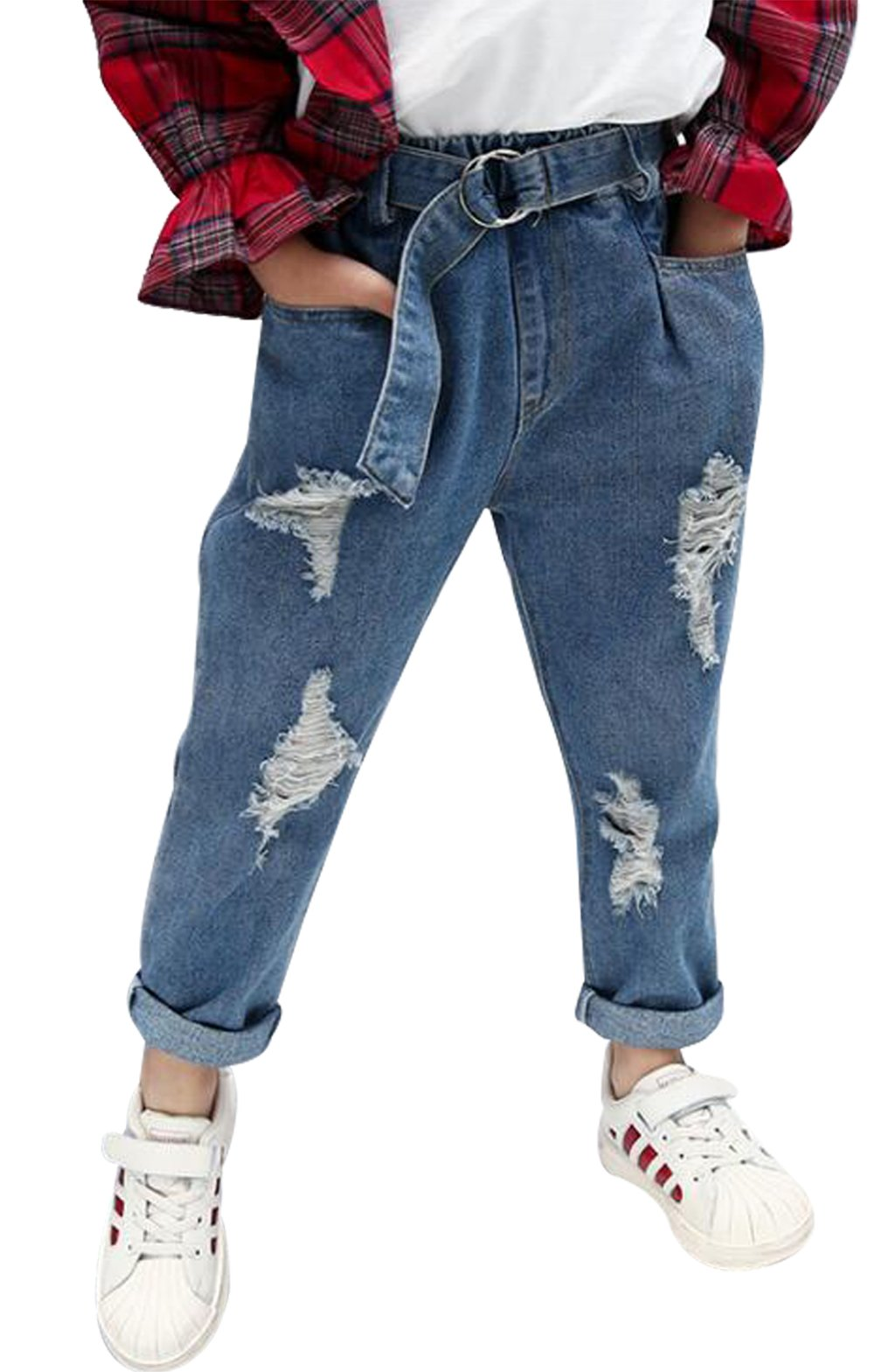 UNIQUEONE Baby Girls Casual Loose Pockets Denim Pants Kids Girls Ripped Holes Trousers Jeans