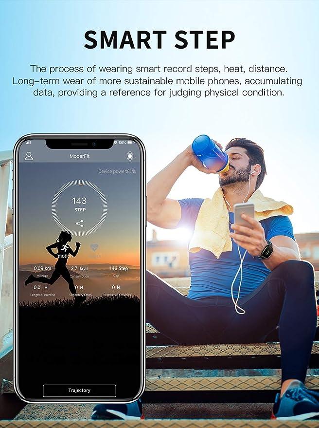 JIANGJIE Fitness Tracker Smart Watch Pantalla HD en Color Múltiples Modos de Deportes IP67 Impermeable con frecuencia cardíaca, presión Arterial, medición, ...