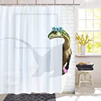 BLEUM CADE Funny Bathing Dinosaur Shower Curtain Bathroom Curtain with 12 Hooks Durable Waterproof Animal Fun Bath…