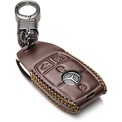 Vitodeco Genuine Leather Smart Key Fob Case Cover Protector with Leather Key Chain for 2020-2020 Mercedes-Benz E-Class, 2020-2020 Mercedes-Benz S-Class (4-Button, Brown): Automotive