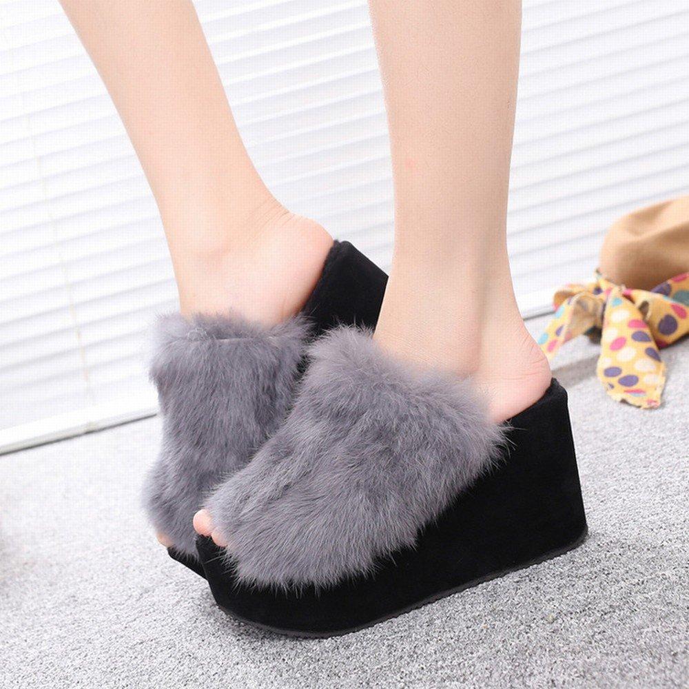 Pantofola Di Primavera con Ciabatte da Donna con Tacco Alto e Ciabattina,Nero,37 ZZXT