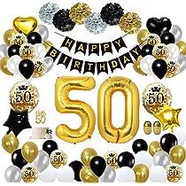 MMTX 50 Globos Cumpleaños Decoracione Oro Negro, Happy Birthday cumpleaños, Pompones de Papel, Globos de Papel de Oro para Hombres y Mujeres Adultos ...