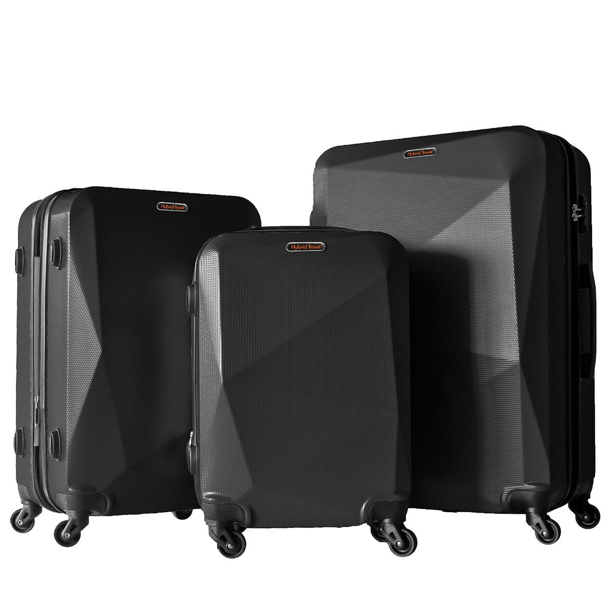 3 PC Luggage Set Durable Lightweight Hard Case Spinner Suitecase LUG3 HD1629 BLACK