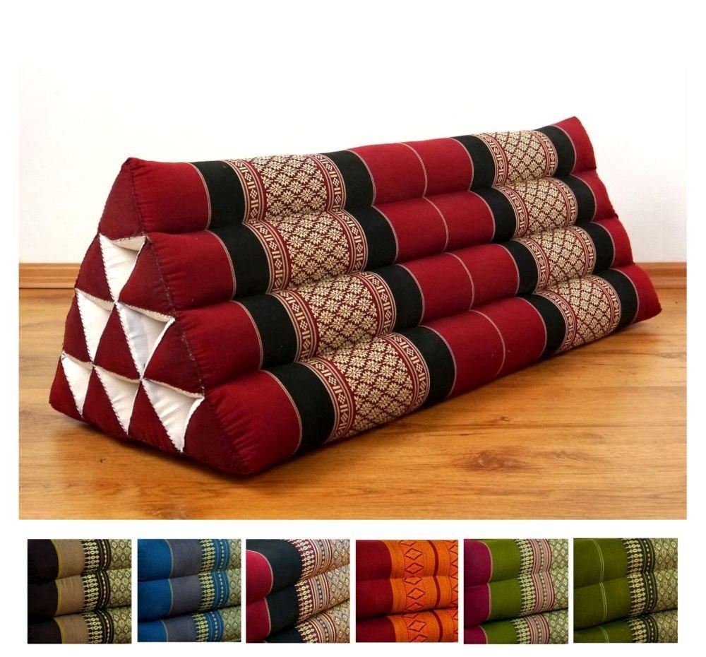 LivAsia Throw Pillow, 32x12x13 inches (LxWxH), XXL wide, 100% Natural Kapok Filling, Triangle Cushion, Headrest, Thai Pillow by LivAsia