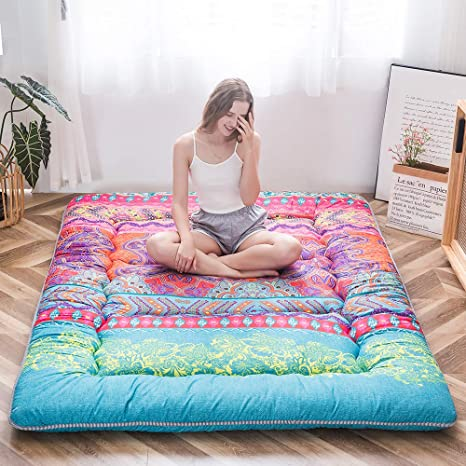 Navy Flamingo Japanese Floor Mattress Futon Mattress Boys Girls Memory Foam Foldable Bed Camping Mattress Floor Lounger Bed Couches and Sofas 4 Inch Mattress Topper Twin Size