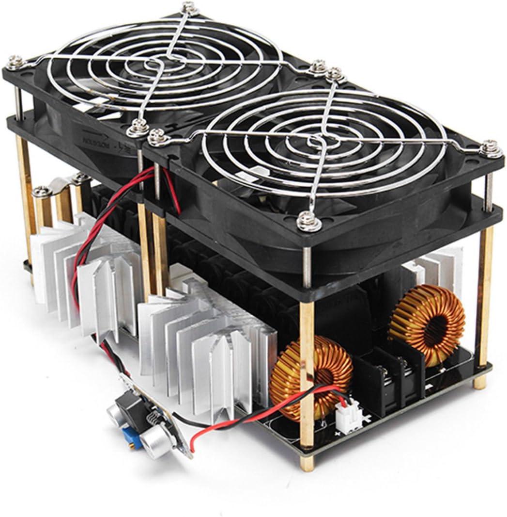 Vaorwne 1800W ZVS Modulo de placa de calentamiento por induccion Calentador de conductor flyback + Bobina Tesla + Ventilador