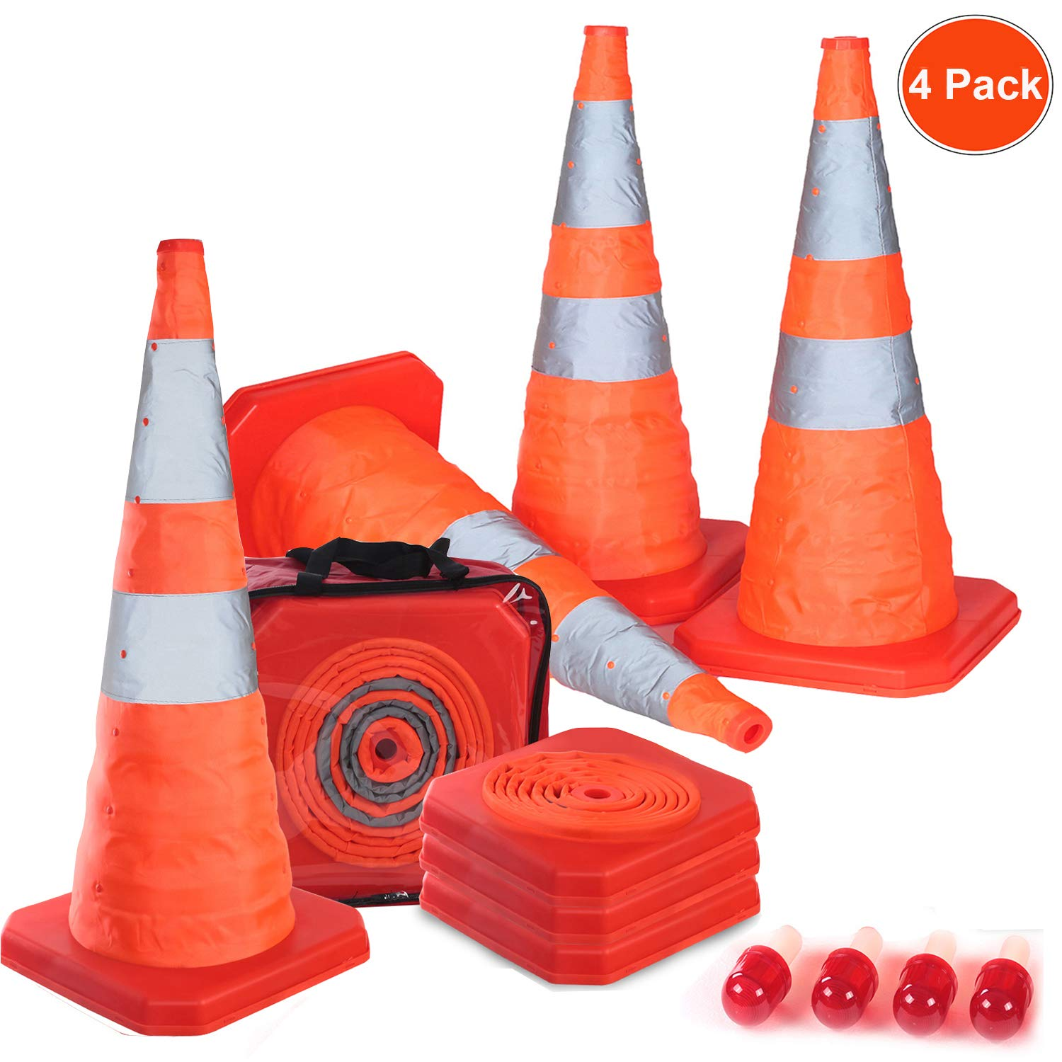 Reliancer 4PC 27.6'' Collapsible Traffic Cones with Nighttime LED Lights Pop up Safety Road Parking Cones Weighted Hazard Cones Construction cones Fluorescent Orange w/2 Reflective Silver Strips Collar