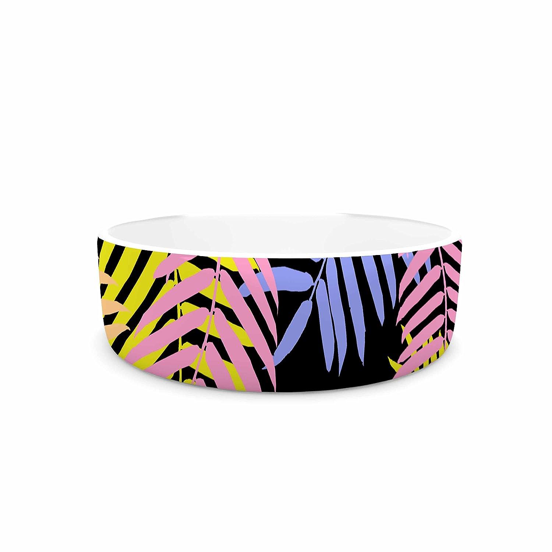 KESS InHouse Vasare NAR Tropical Palm 90S  Black Multicolor Art Deco Floral Pet Bowl, 4.75  Diameter