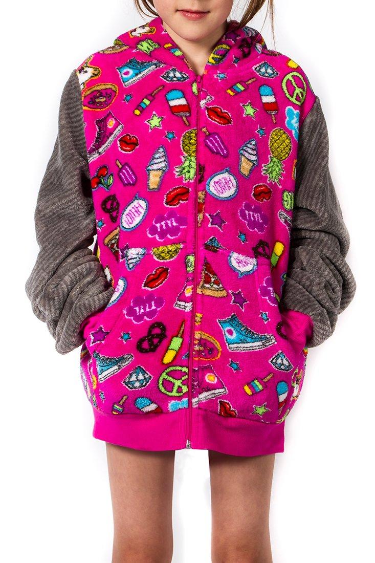 Girl's Peace Love & Fashion Emoji Hoodie - Pink (Large)