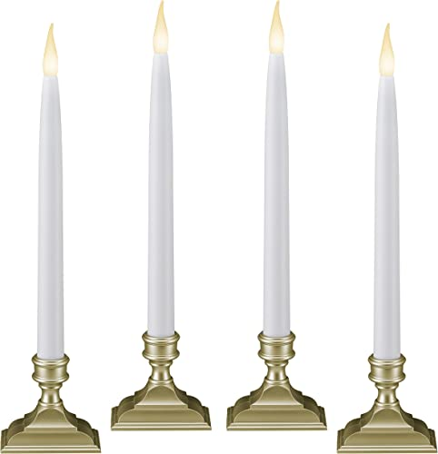 612 Vermont Battery Operated LED Window Candles with Timer 6 on 18 Off , Patented Warm White Dual LED Flicker Flame Pack of 4, Pewter