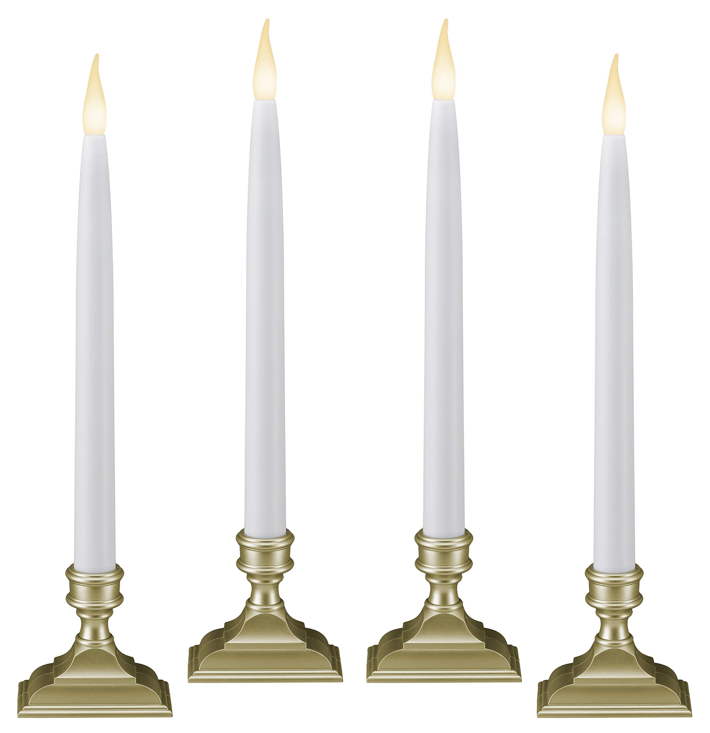 612 Vermont Battery Operated LED Window Candles with Timer (6 on/18 Off), Patented Warm White Dual LED Flicker Flame (Pack of 4, Pewter) by 612 Vermont