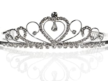 SC Bridal Wedding Prom Silver Tiara Crown With Crystal Heart 42206