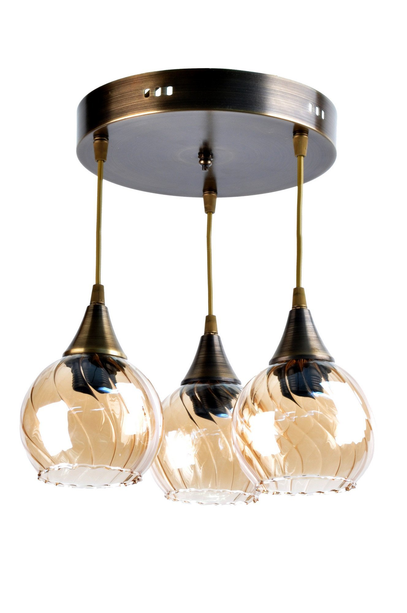 LaModaHome Retro Chandelier, Place for 3 Light Bulbs, Modern, Decorative - Hang Ceiling Lighting Fixture for Home & Office, Living Room, Study Room