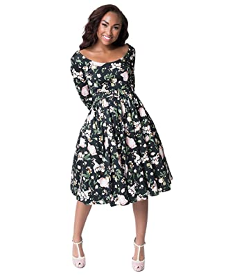 a60b01ff67e Image Unavailable. Image not available for. Color  Bettie Page Black   Pink Floral  Sleeved Liz Swing Dress