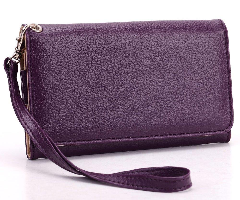 Acai Purple MustHave Wristlet Wallet Case for LG Optimus Zone 3, LG K3, LG G2 Mini D618, Escape 2 Smartphone