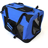 Pet Travel Carrier Soft Crate Portable Puppy Dog Cat Kitten Cage Kennel Home House Blue (Small 50x33cm)