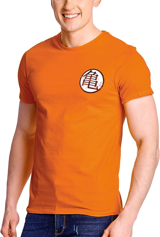 Camiseta de hombre de Dragon Ball Kaio Kame Symbol Distressed algodón naranja - XL: Amazon.es: Ropa y accesorios