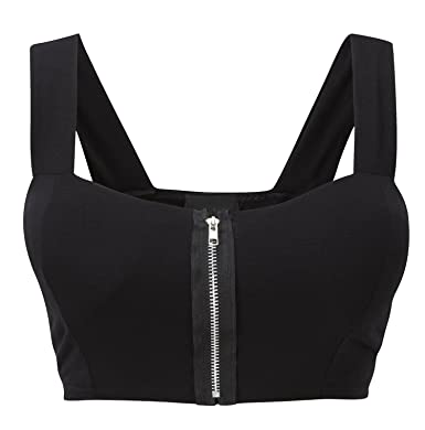 2b482e0af3 LADIES NEON ZIP FRONT CROP TOP WOMEN SEXY PADDED LACE BRALET STRAPPY BRA TOP   Amazon.co.uk  Clothing
