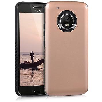 kwmobile Funda para Motorola Moto G5 Plus - Carcasa Protectora híbrida de TPU - Cover Trasero en Rosa Oro Brillante