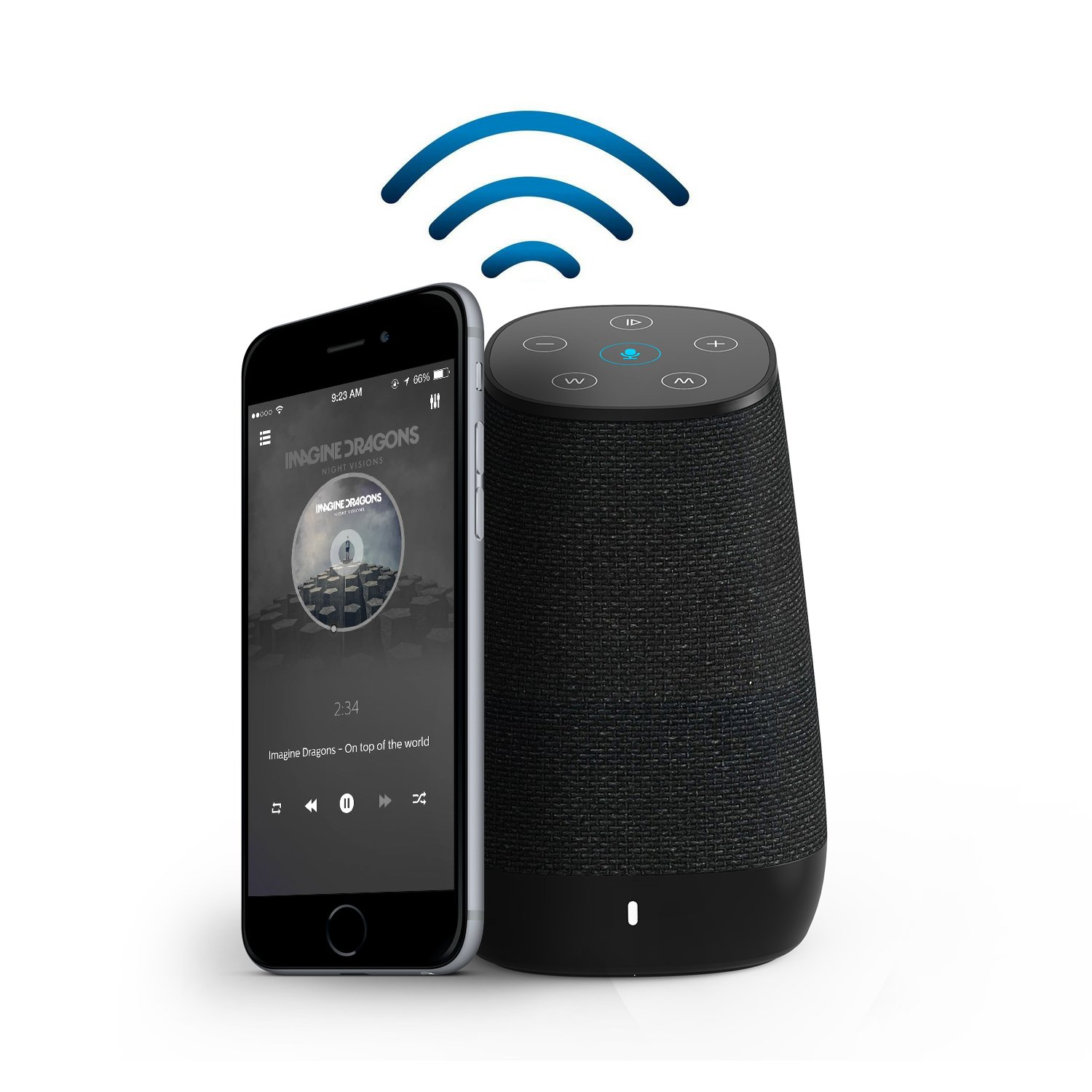 COWIN DiDa with Amazon Alexa Bluetooth Speakers, Smart Wireless Wifi Portable Bluetooth Speaker 15W Output Power with Enhanced Bass- Black by COWIN (Image #3)