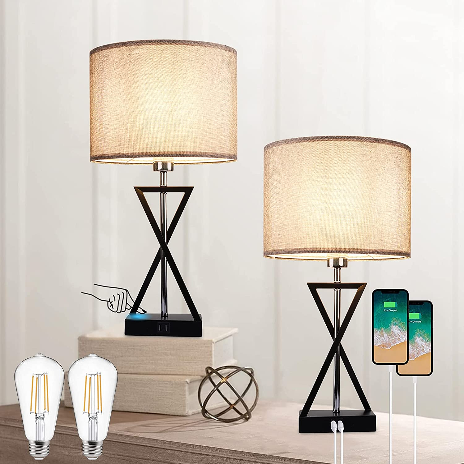 Ralbay Set of 2 Desk Lamp with USB Charging Port 3-Way Dimmable Touch Control Nightstand Lamp for Bedroom Bedside Table, Modern Table Lamp for Living Room, Home Office