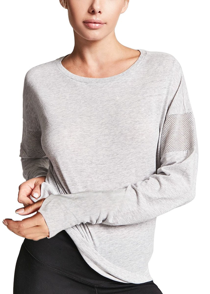 Fihapyli Women Dolman Style Long Sleeve Soft Rayon Top Tee Stretchy Loose Casual Yoga Top Running Gym Sports Blouse with Thumb Hole (Gray, XXL)