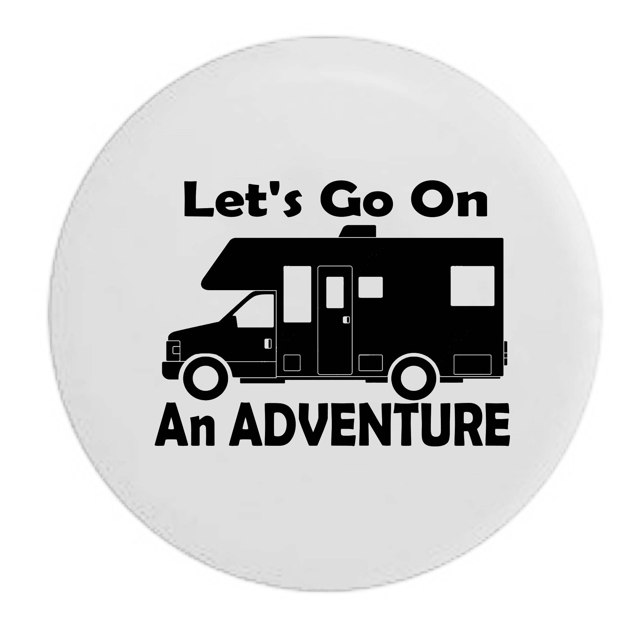 Pike Outdoors White - Let's Go on an Adventure RV Motorhome Camping Travel Spare Tire Cover OEM Vinyl Black 29 in by Pike Outdoors