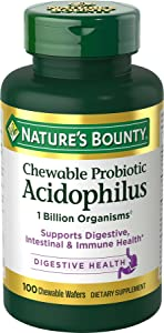Probiotics by Nature's Bounty, Chewable Acidophilus Probiotic, Immune Health & Digestive Balance, 100 Chewable Wafers (1-pack)