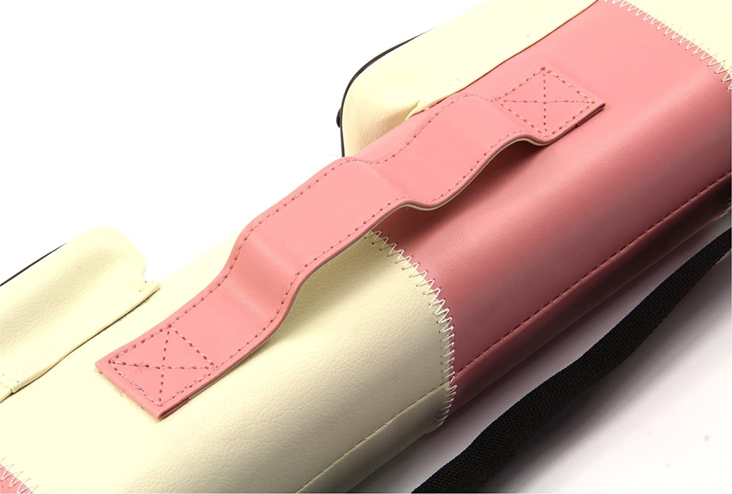Holds 2 Centre Jointed Cues PINK /& WHITE Leather Patch Effect SQUARE Cue Case