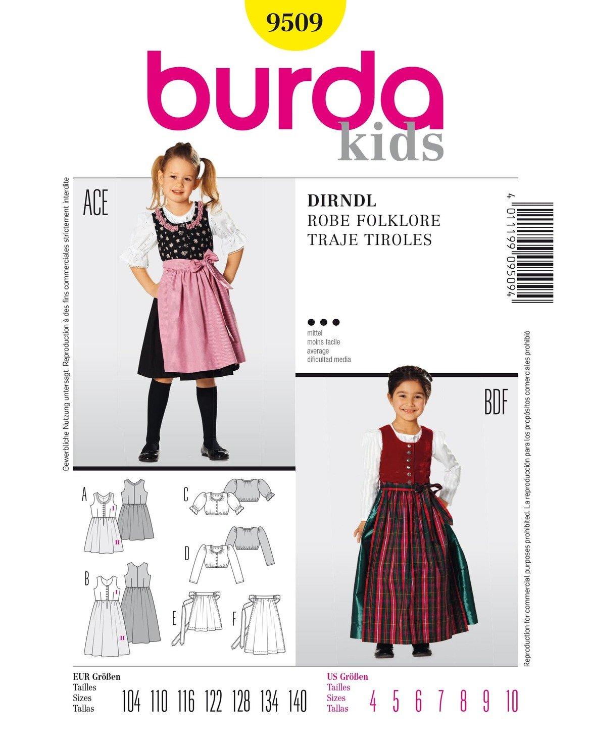 Burda Schnittmuster 9509 Dirndl,Traje Tiroles Gr. 104-140: Amazon.de ...