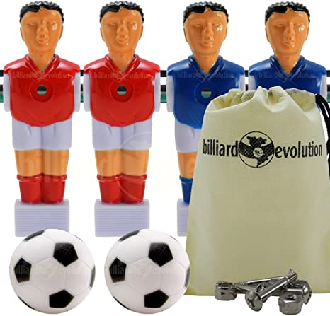 4 rojo/azul camisas/calcetines futbolín Hombres + tornillos + ...