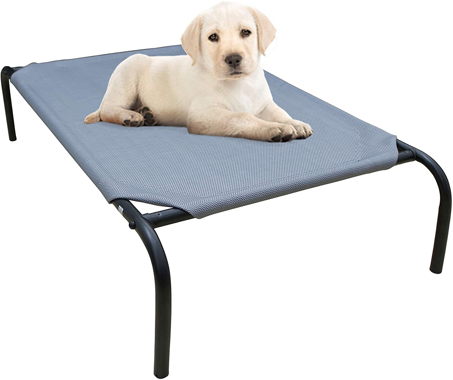 "PHYEX Heavy Duty Steel-Framed Portable Elevated Pet Bed, Elevated Cooling Pet Cot, 33"" L x 19"" W x 7.5"" H"
