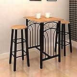 40f53034b505 Anself - Conjunto de comedor de desayuno/cena,madera y acero,color marrón