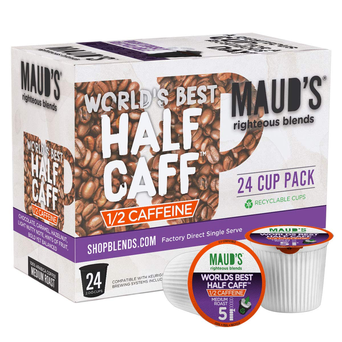 Maud's Half Caff Coffee (World's Best Half Caff), 24ct. Recyclable Single Serve Half Caff Coffee Pods – 100% Arabica Coffee California Roasted, Keurig Half Caff K Cup Compatible Including 2.0