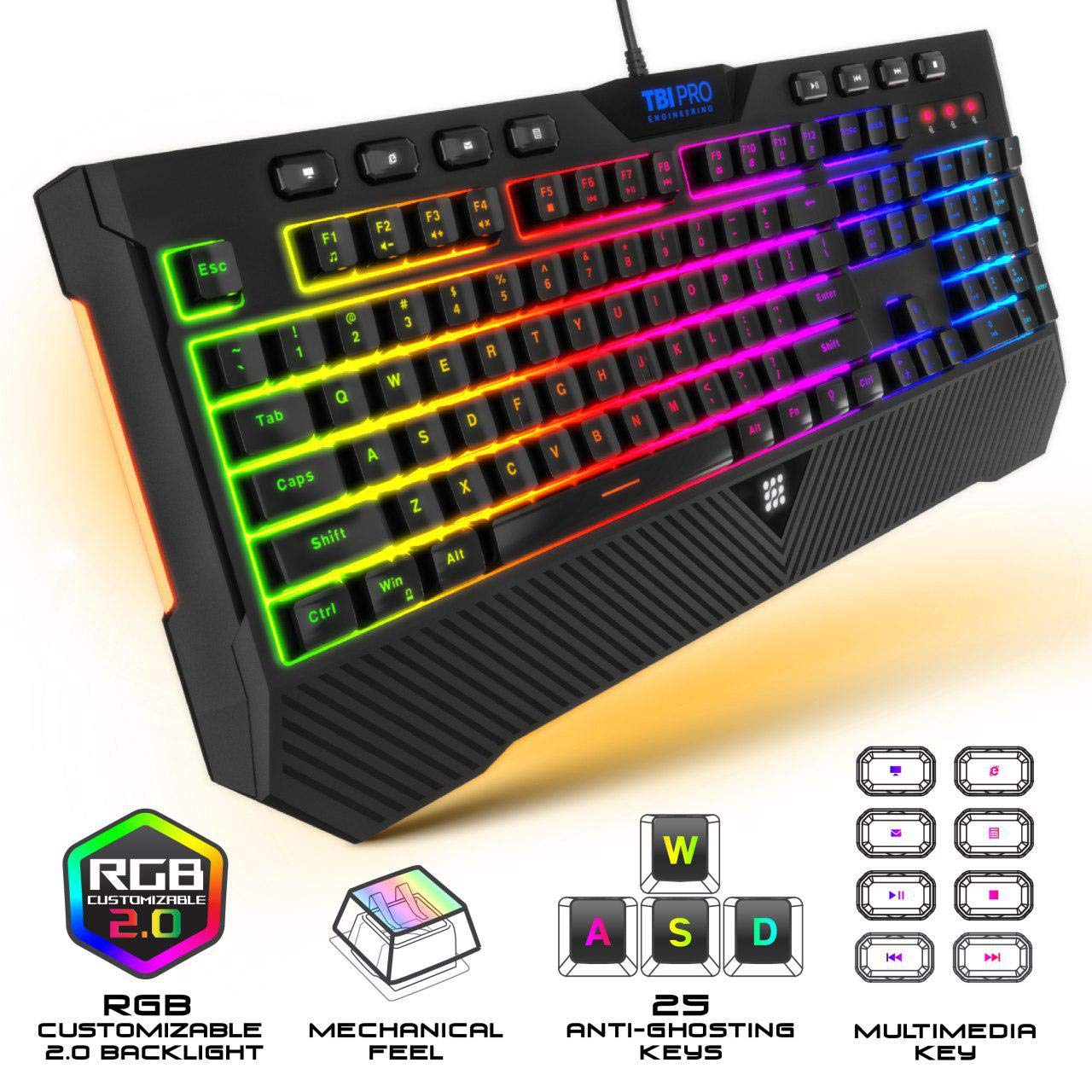 Best Wireless Keyboard 2020.Upgraded 2020 Gaming Membrane Keyboard With Mechanical Feel Clicks Led Rgb Backlight 104 Keys 8 Multimedia Ergonomic Stand Anti Ghosting
