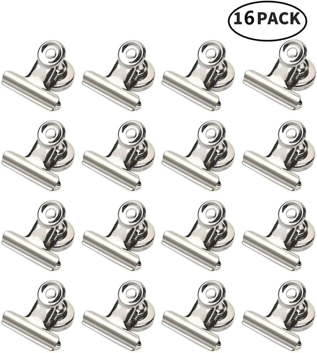 Magnet Clips Heavy Duty - Width 1.5 inch Strong Metal Magnetic Clips for Refrigerator 16 Pack, Diameter 1 inch Magnetic Clips for Whiteboard, Office Magnets, Photo Magnets